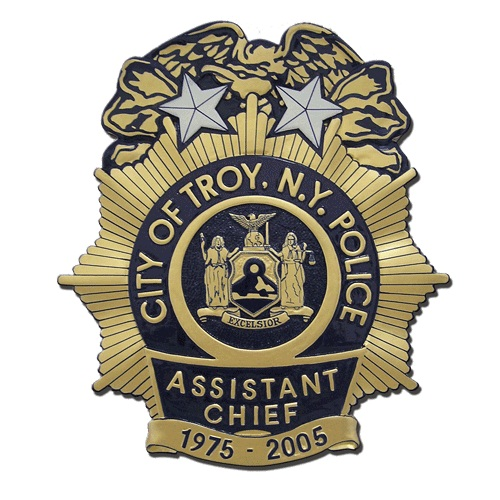 City of Troy NY Police Assistant Chief Badge Plaque