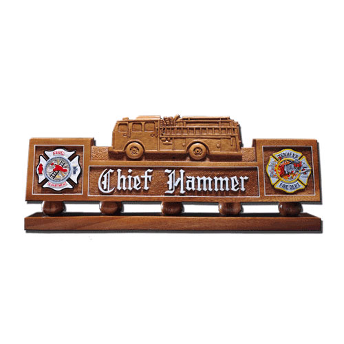 Fire Truck Desk Nameplate Model 1