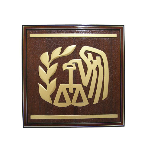 Internal Revenue Service (IRS) Gold Wooden  Emblem