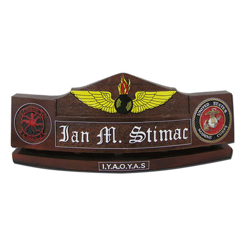 Marine Corps NAO Wings Insignia  Desk Nameplate