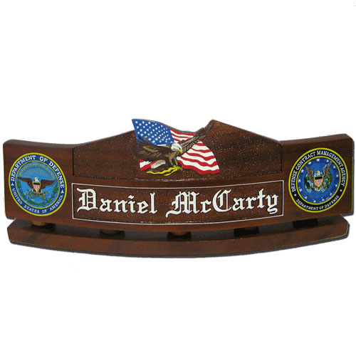 US Eagle and Flag  Desk Nameplate Model 2