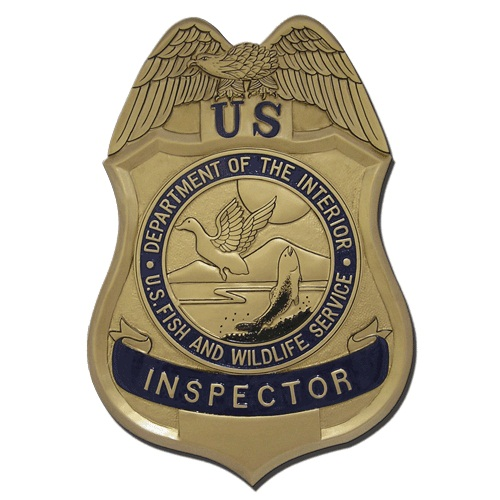 US Fish and Wildlife Service Inspector Badge Plaque