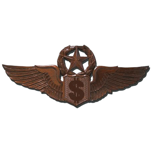 USAF Master Flying Comptrollers Wings Insignia Plaque