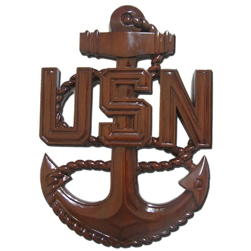 US Navy (USN) Wooden Anchor Plaque CPO E7