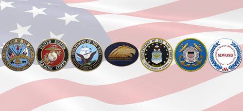 Military and SDVOSB Seals with Company Logo